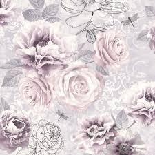 graham u0026 brown fresco pink purple u0026 grey floral wallpaper