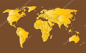 Decorative World Map Yellow World Map Isolated On Brown Background U2014 Stock Vector