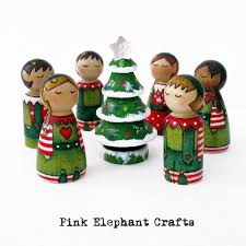 miniature multicoloured christmas tree peg doll christmas tree