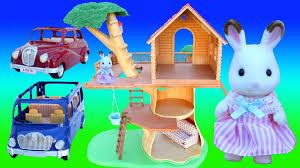 rabbit treehouse sylvanian families calico critters rabbit family kids toys tree