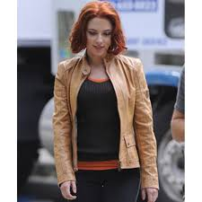 light brown leather jacket womens avengers film scarlett johansson tan brown leather jacket