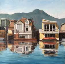 plein air sausalito house boats water ocean 20 x 20 original