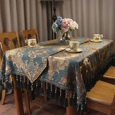european blue chenille jacquard luxury table cloth formal table
