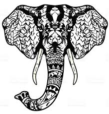 elephant head coloring page tattoo poster print tshirt stock