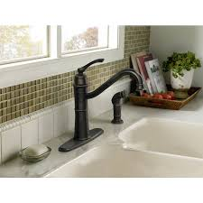 moen lindley kitchen faucet shop moen wetherly mediterranean bronze 1 handle high arc kitchen