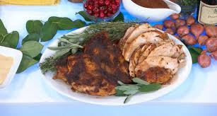 cedar plank roasted turkey breast with cranberry pinot noir gravy