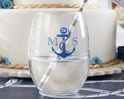 stemless wine glasses wedding favors personalized nautical wedding 9 oz stemless wine glass my