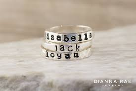 stackable rings with children s names s stackable name rings dianna jewelry