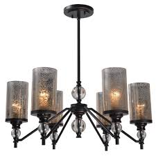 kenroy home chloe 6 light bronze chandelier with mercury glass