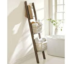 Pottery Barn Leaning Bookcase Reclaimed Wood Bath Ladder Storage Pottery Barn