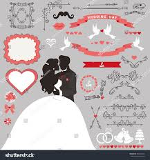 wedding invitation card decor setcartoon kissing stock vector