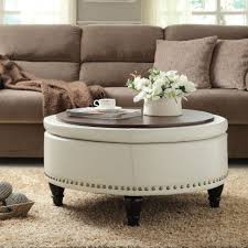 Fabric Storage Ottoman by Coffee Table Round Padded Coffee Table Beautiful Round Ottoman