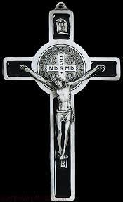 st benedict crucifix pewter st benedict standing cross black epoxy inlay