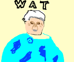 Wat Meme Lady - old lady with white hair says wat meme drawing by kwreyes