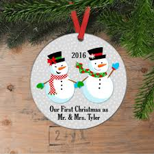 our first christmas ornament personalized wedding gift snowmen chris