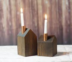 wood and copper candle holder rustic home decor primitive decor