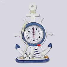 european mediterranean rudder anchor pendulum clock in living room