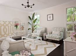 seafoam green and beige living room design with light tan walls