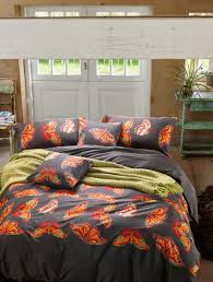 amazing orange butterfly egyptian cotton pcs duvet cover flat