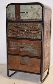 reclaimed recycled scrap wood drawer cabinet metal frame urban