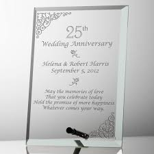 wedding plaques personalized 25th wedding anniversary glass plaque