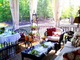 houses afternoon terrace pillows outdoors trees nature tea floral