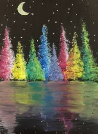 easy cool painting idea night scene with staroon rainbow forest reflection