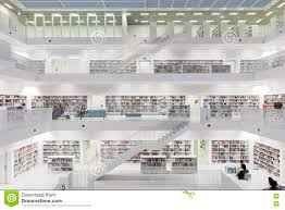 Stuttgart City Library Interior Of Futuristic Library In White Editorial Image Image
