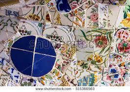 Tile Decoration Broken Glass Mosaic Tile Decoration Park Stock Photo 413692690