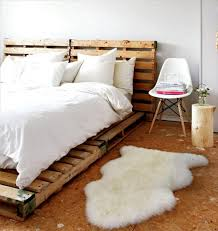 charming fur rug created to enhance amazing pallet bed ideas at