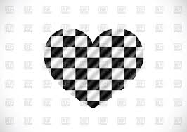 Checkered Flag Ribbon Racing Checkered Flag In Shape Of Heart Royalty Free Vector Clip