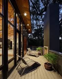 exterior small balcony boutique hotel design with wooden floor