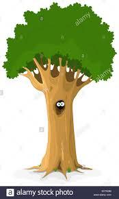 illustration of a cartoon big oak tree with owl or bird eyes