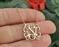 gold monogrammed necklace monogram necklace etsy