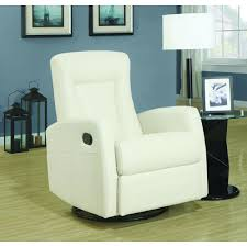 Sleek Recliner by Monarch Specialties Ivory Bonded Leather Swivel Recliner I8082iv