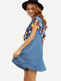 blue one shoulder ruffle tassel embroidered dress shein sheinside