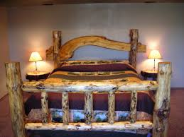 fabulous oak log wooden rustic bed with full size brown fabric bed