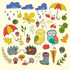 imagenes animadas de otoño conjunto de personajes de dibujos animados lindo y elementos de