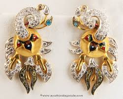 peacock design earrings gold peacock earrings from senthil murugan jewellers gold