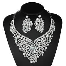 jewelry set jewelry sets wedding necklace earrings set rhinestones