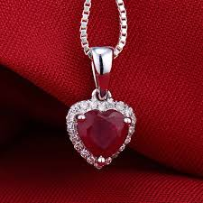 heart necklace red images New heart 6mm solid 14k white gold diamond red ruby pendant hot jpg