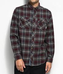 Flannel Shirts Dravus Burgundy Navy Charcoal Flannel Shirt Zumiez