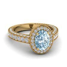 aquamarine diamond ring antique milgrain oval shpaed aquamarine diamond colored engagement