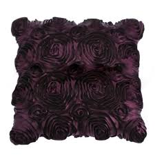 purple aubergine roses shabby chic silk cushion covers 18 x 18