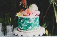 Tropical Themed Wedding Cakes - picture of add palm leaves to your minimal tropical themed wedding