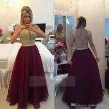 long see through back burgundy prom dresses organza gold champagne