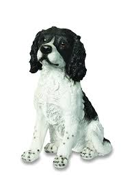 large black and white springer spaniel ornament resin garden