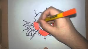 drawing a traditional style rose tattoo tattoo flash art speed