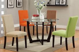 Dining Tables With 4 Chairs Glass Top Dining Table U0026 Color Parson Chairs U2013 Kb Home Furnishing