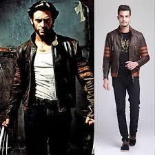 Biker Halloween Costume Men Origins Wolverine Brown Biker Leather Jacket Halloween